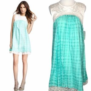 NWT Free People aqua/white Gauzy Lace Tank Dress m